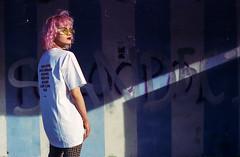 P i n k s h a d o w (Zew1920) Tags: pink shadow sandecja żarówka cinestill 800 canon ae1 50mm kaja lesser poland busstop portrait
