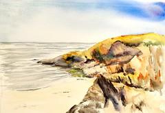 Crique de la Roche Percée à Clohars Carnoët (mog gom) Tags: rochers mer ocean atlantique jaune vagues watercolor aquarelle watercolour reflet horizon plage sand strand