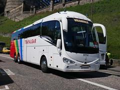 Weardale Coaches of Stanhope Irizar i6 Integral YT19KUY, with Trafalgar Tours vinyls, at Johnston Terrace, Edinburgh, on 10 June 2019. (Robin Dickson 1) Tags: busesedinburgh trafalgartours irizari6integral weardaleofstanhope yt19kuy