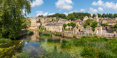 Bradford-on-Avon (Keith now in Wiltshire) Tags: bradfordonavon town river avon cotswold stone building canoe tree landscape sky reflection water historic wiltshire kayak panorama photomerge