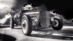 Rolling Thunder (dougkuony) Tags: coffeecruise hdr auto automobile automotive bw blackwhite blackandwhite blacksky car customcar hotrod mono monochrome streetrod