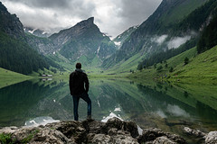 Waiting for the light (ramvogel) Tags: sony a6300 sigma sigma16mmf14 mountain landscape seealpsee portrait clouds reflection switzerland mist fog alps appenzell apsc selfie nwm