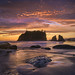 Sunset over sea stacks at Ruby Beach, Olympic National Park, Olympic Peninsula, Washington State