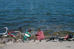 Cyclists (Kym.) Tags: bike break cycling diary harbor inlet lake people project sea walk walking walkingbymyself water amsterdam thenetherlands