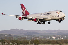 G-VROS Boeing 747-400 Virgin Atlantic Glasgow airport EGPF 04.05-19 (rjonsen) Tags: plane airplane aircraft avaition airliner queen skies jumbojet golden hour light