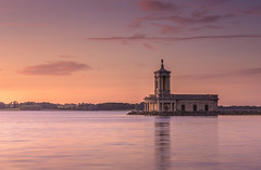Normanton Church, Rutland Water (John__Hull) Tags: normanton church rutland water sunset reservoir clouds sky waterscape building architecture waves ripples reflection uk england nikon d7200 st matthews