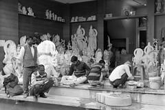 jaipur (gerben more) Tags: jaipur rajasthan india blackwhite monochrome people statue workman work workers art religion