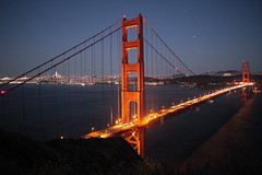 Lighting up the Golden Gate (JB by the Sea) Tags: sanfrancisco california june2019 marinheadlands marincounty marin goldengatebridge bridge sanfranciscobay night