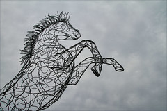 Wire Horse (meniscuslens) Tags: horse hounds heroes wire statue sky event clouds buckinghamshire aylesbury high wycombe princes risborough