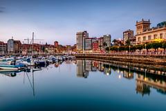 Gijon (dima.travelling) Tags: cityscape longexposure sky water reflection lights bluehour gijon spain europe boats nightlights