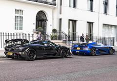 Twin Turbo V8s (Hunter J. G. Frim Photography) Tags: supercar hypercar london uk mclaren senna british v8 turbo wing black amethyst mclarensenna twinturbo carbon koenigsegg one1 blue matte swedish koenigseggone1