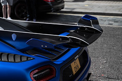 Downforce (Hunter J. G. Frim Photography) Tags: supercar hypercar london uk koenigsegg one1 blue matte wing carbon turbo swedish koenigseggone1