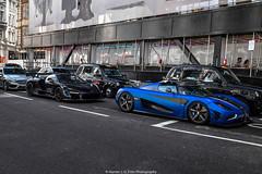 Streets of London (Hunter J. G. Frim Photography) Tags: uk blue black london wing swedish turbo mclaren british amethyst carbon supercar twinturbo senna v8 matte koenigsegg one1 hypercar mclarensenna koenigseggone1