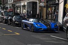 Driving (Hunter J. G. Frim Photography) Tags: supercar hypercar london uk koenigsegg one1 blue matte wing carbon turbo swedish koenigseggone1