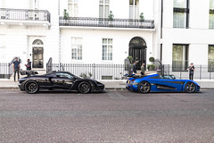 Combo (Hunter J. G. Frim Photography) Tags: supercar hypercar london uk mclaren senna british v8 turbo wing black amethyst mclarensenna twinturbo carbon koenigsegg one1 blue matte swedish koenigseggone1