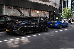 Epic Duo (Hunter J. G. Frim Photography) Tags: supercar hypercar london uk mclaren senna british v8 turbo wing black amethyst mclarensenna twinturbo carbon koenigsegg one1 blue matte swedish koenigseggone1