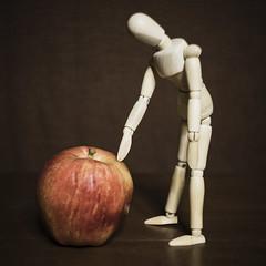Apple Inspector (DayBreak.Images) Tags: tabletop stilllife apple wooden mannequin canondslr lensbabyburnside35 ringlight lightroom kimklassen preset