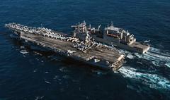 "USS Reagan sails alongside Military Sealift Command's dry cargo & ammunition ship USNS M. Perry (#PACOM) Tags: commanderfleetactivitiesyokosuka ussronaldreagan forwarddeployed coralsea dvidsemailimport usindopacificcommand ""usindopacom"