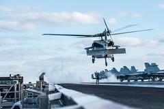 "MH-60S Sea Hawk lands on the flight deck aboard the Navy's forward-deployed aircraft carrier USS Reagan (#PACOM) Tags: masscommunicationspecialist2ndclassjanwebblagazo ussronaldreagan cvn76 forwarddeployedaircraftcarrier carrierstrikegroup5 maritime usnavy japan cfay commanderfleetactivitiesyokosuka yokosuka flightoperations flightdeck airpower seapower indopacific talimansabre2019 coralsea dvidsemailimport usindopacificcommand ""usindopacom"