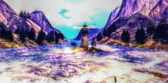 """"""" Netherwood's Bay """" (maka_kagesl) Tags: secondlife sl second life game gaming games virtual videogame videogames photography landscape water bay ocean sea lighthouse mountains mountain nature bird birds animal animals sky cloud clouds trees tree wave waves"""
