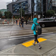 New diagonal crosswalk open for people at Westlake and 8th. (Seattle Department of Transportation) Tags: seattle sdot transportation donghochang instagram crosswalk new diagonal open people westlake 8th tactile curb ramp
