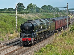 returning north (midcheshireman) Tags: steam train locomotive bulleid pacific 35018 britishindialine mainline cheshire