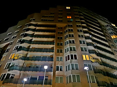 Highrise on Pededzes Street in night. Riga, Latvia. 14 July 2019 (Aris Jansons) Tags: building residentialhouse facade night city capital riga latvia baltic europe