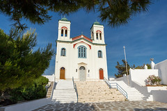 Naoussa Church (josullivan.59) Tags: 2019 agean greece greek island paros architecture church clear day europe evening historical islands old outdoor outside stairs travel white wallpaper weather yellow architectural cyclades