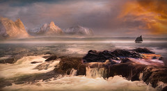 As Dawn Breaks Over The Ocean (jarr1520) Tags: ocean sea dawn clouds sunrise mountains snow composite textured water reflections ship sailingboat rocks fog mist waterfall