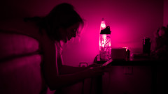 Kat (C.E.Szaro) Tags: girl pretty lighting purple lavalamp sliceoflife night glow phone technology sony a7ii minolta 50mm