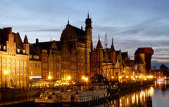 Reflections - River Motlawa , Gdansk , Poland (scarbrog) Tags: river motlawa water reflections boats gdansk oldtown bluehour starburst xf35mm