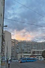 DSCF4892 (Mike Pechyonkin) Tags: 2019 moscow москва sky небо cloud облако house дом road дорога street улица man мужчина sunset закат tramway трамвай streetlight фонарь car машина