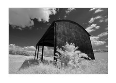 Hay barn (david.hogan7) Tags: canon 750d converted ir 720 infrared black white fine art landscape summer clouds tree wheat fields south downs national park tichborne england efs 1018mm wide angle hay barn farm