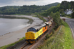 37521 Bodnant Garden 15th July 2019 (John Eyres) Tags: 37521 tnt 66846 passing bodnant garden along conwy estuary with 0620 crewe basford hall talycafn ballast job the blaenau branch has been closed since march due severe flooding