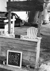 Rocks for sale, Frankfort Michigan (ejbarth) Tags: leicaiiif film ultrafine pushprocessing d76 selfdeveloped bw nb sw frankfort michigan summer summitar