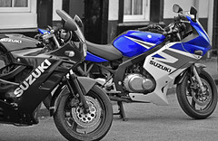 Black and Blue (42jph) Tags: mono bw black white yorkshire dales settle england uk nikon d7200 color colour motor cycle motorcycle motorbike suzuki vehicle 105mm f28g edif afs vr micro lens