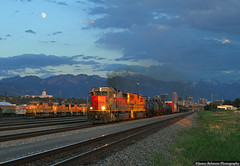 Thank You, Mother Nature (jamesbelmont) Tags: utahrailway local rut611 northyard saltlakecity utah emd sd50s train railroad railway locomotive moon sunset clouds wasatchmountains sd70m