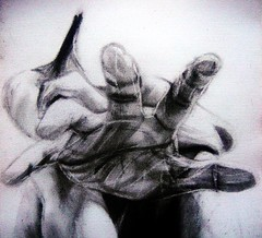 NOT THERE YET (Sketchbook0918) Tags: selfportrait charcoal sketch hand grief reaching paper art shadows