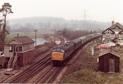 45129 Cowley Bridge Junction February 1982 (clivepsmithmarch1960) Tags: 45129 cowleybridgejunction thecornishman exeter signalbox