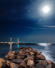 Summer nights. (picturesofalife) Tags: nightlandscape paisajenocturno paisaje landscape sea moon nikond500 nikon d500 sigma1750mmf28os nocturna picturesofalife palamós longexposure night beach