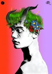 Inflorescent (Indy Sidhu Art Works) Tags: anxiety apple ascend boy burn chaos color colors colour colours dark digital digitalart digitalillustration drawing illustration ipad legion liquify nymth pale flower green man nature paleskin red rose romance