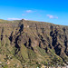 Panoramic view of terraced hillside landscape in the valley of Valle Gran Rey on La Gomera, Spain