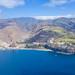 Aerial view of the beach and steep coast of Laguna de Santiago on La Gomera, Spain