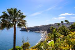 Luftbild vom Hafen Puerto de Playa Santiago auf La Gomera, Spanien