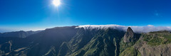 Panoramic view of the mountain landscape near the Roque de Agando in the Garajonay National Park on La Gomera, Spain