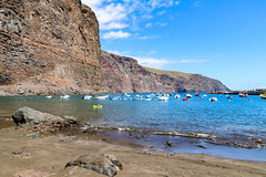 Yachts in the North Atlantic Ocean at Playa De Vueltas beach on La Gomera, Spain