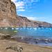 Yachts in the North Atlantic Ocean at Playa De Vueltas beach on La Gomera, Spain