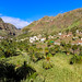 Garden with palm trees at the foot of terraced hills in the valley of Valle Gran Rey on La Gomera, Spain