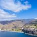Panorama-Blick auf den Strand and die Klippe von Laguna de Santiago auf La Gomera, Spanien