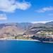 View from the ocean to Laguna de Santiago on La Gomera, Spain
